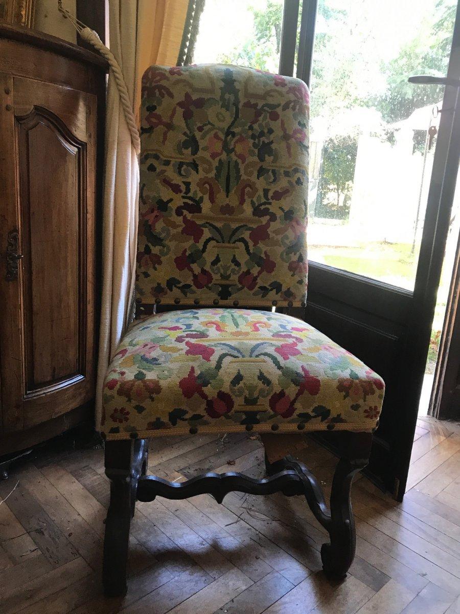 Chaise d'époque Louis XIV Tapisserie Petits Points