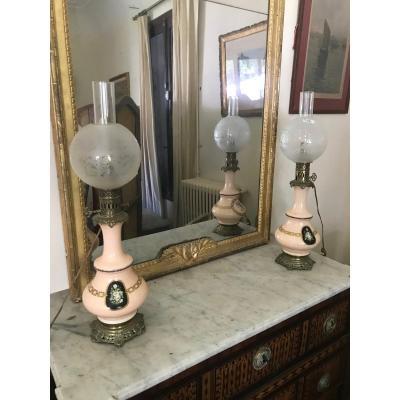 Pair Of Oil Lamps XIX