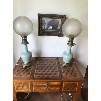 Pair Of XIXth Opaline Oil Lamps