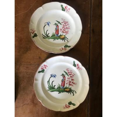 Pair Of Moustier Plates 18th Century Chinese Decor