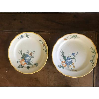 Pair Of Eighteenth Montpellier Faience Plates