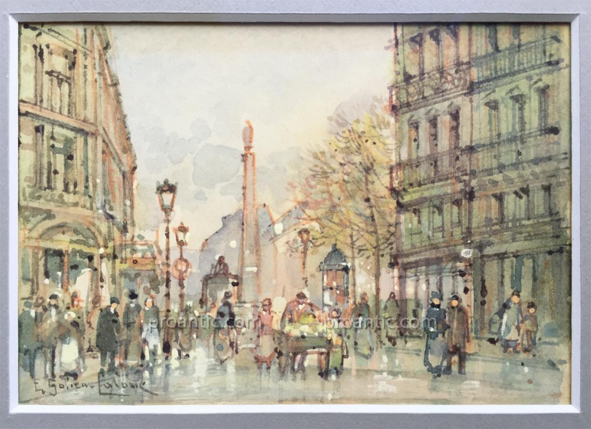 Eugène GALIEN-LALOUE, Place Vendôme, Paris Belle Epoque, gouache sur papier signée