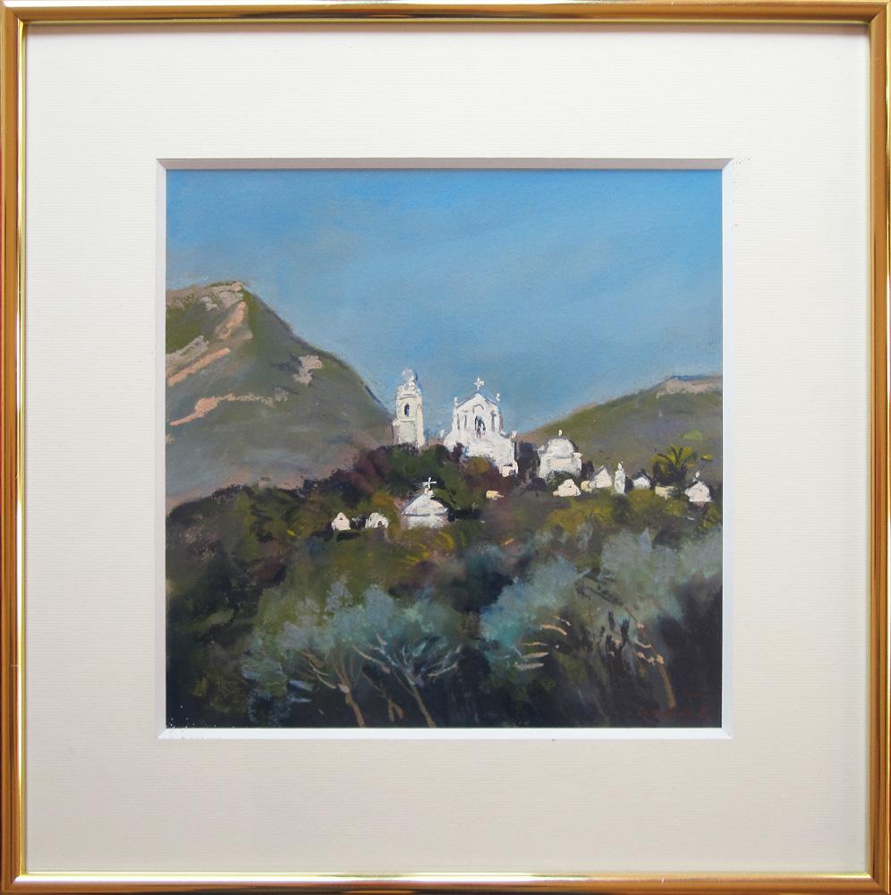 Vue de Pino, Cap Corse, Pastel situé et signé Jacques COQUILLAY