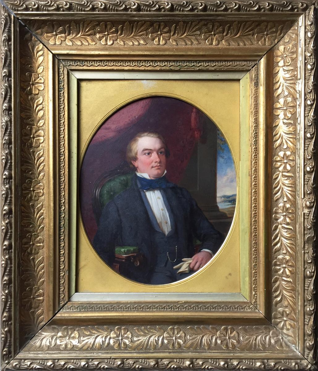 G G BULLOCK, Portrait d'un lord écossais dans intérieur romantique, XIXE, signé, cadre d'époque