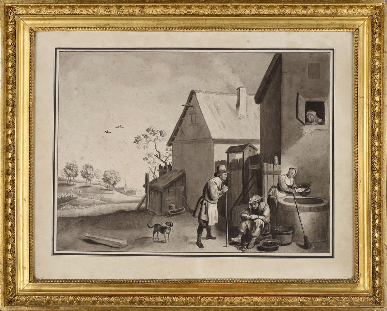 D'après David Téniers II (1610-1690), suiveur ou atelier de, dessin au lavis, fin XVIIe-XVIIIe,