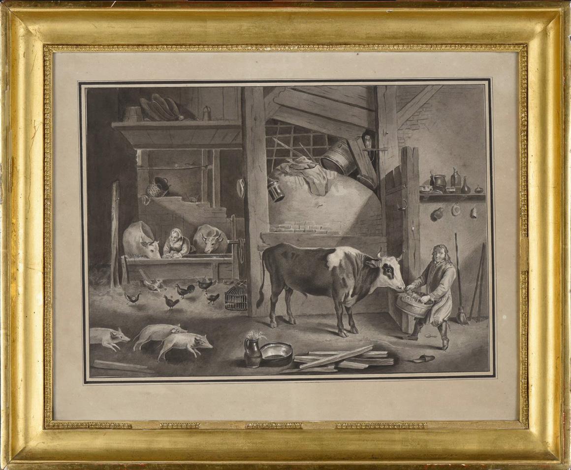 A VAN OSTADE (suiveur de) Scène de vie à l'étable Dessin au lavis, École Hollandaise fin XVIIIe