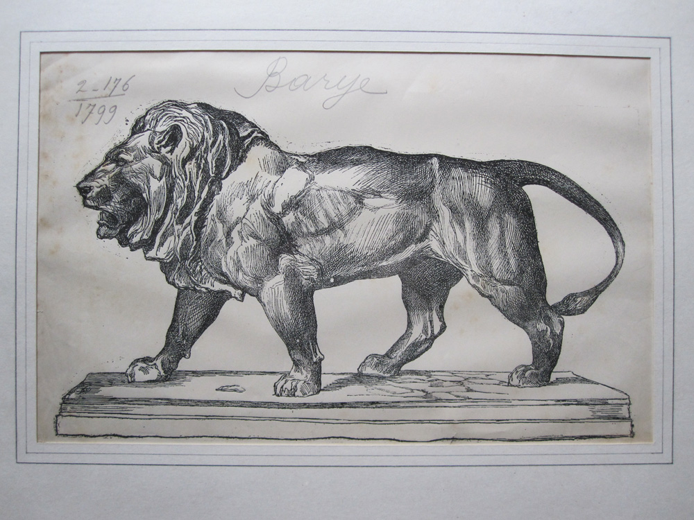 Walking Lion, Engraving By Firmin Gillot After Antoine Louis Barye, Nineteenth Century