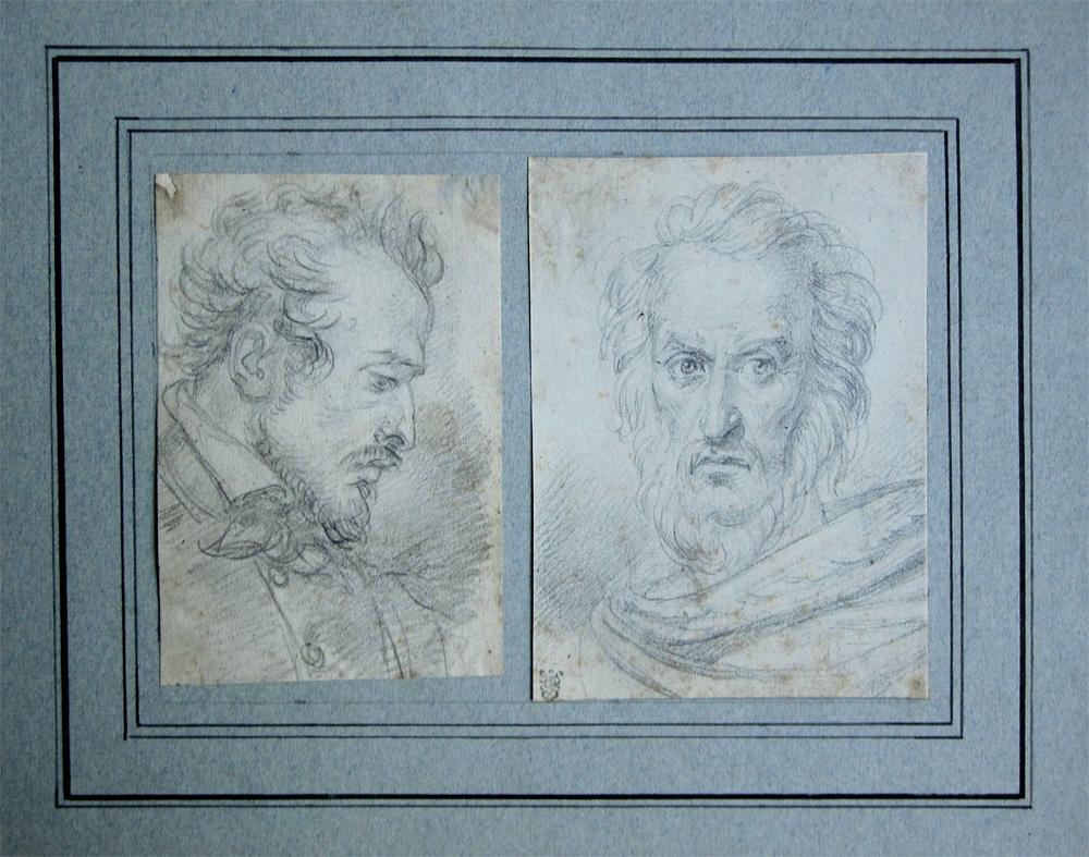 Portraits de deux hommes de qualité, dessins à la mine de plomb, école française du XIXeme