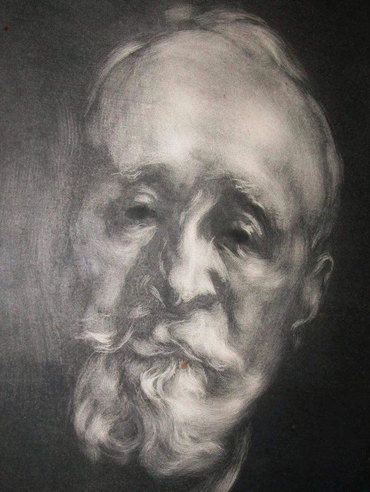 Portrait de Puvis de Chavannes signé au crayon de la main d'Eugène Carrière