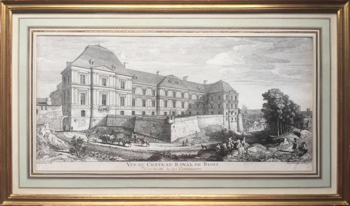 Vue du Château royal de Blois, côté campagne, Jacques Rigaud (1680-1754), Gravure XVIIIe
