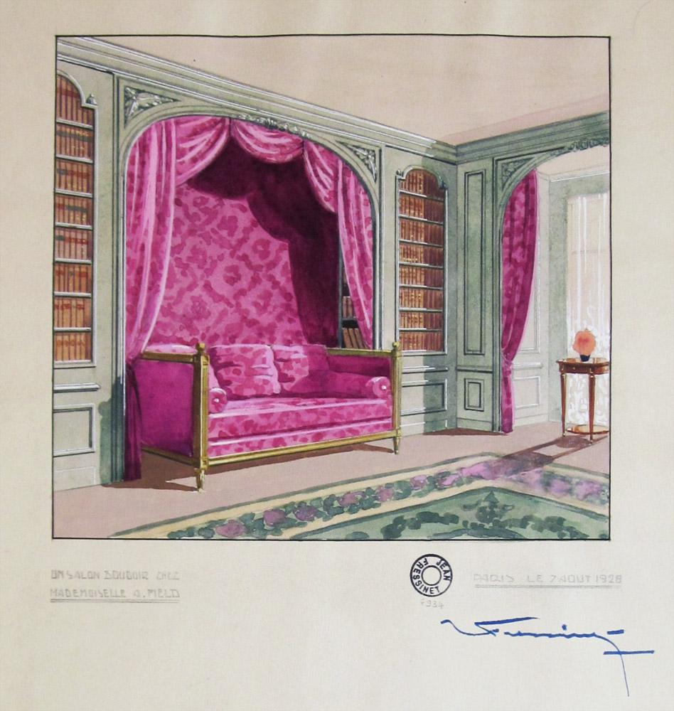 Jean FRESSINET, Salon boudoir de Mlle Field, Gouache Art déco signée,1928