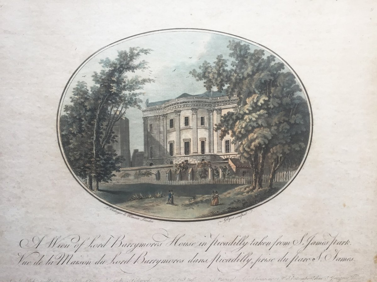 Eighteenth Engraving, A View Of Lord Barrymores In Picadilly House Taken From S. James Park, 1792-photo-2