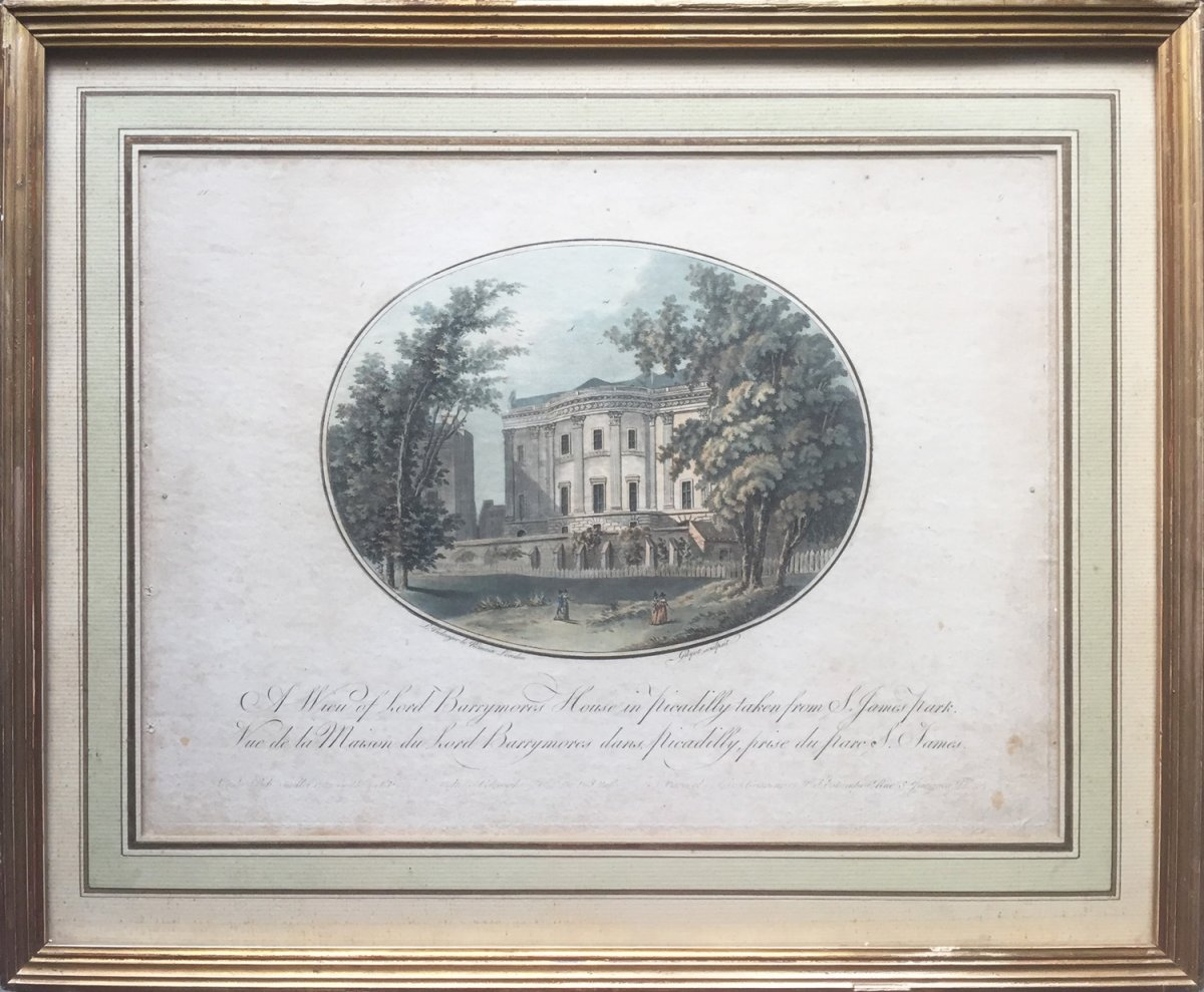 Eighteenth Engraving, A View Of Lord Barrymores In Picadilly House Taken From S. James Park, 1792
