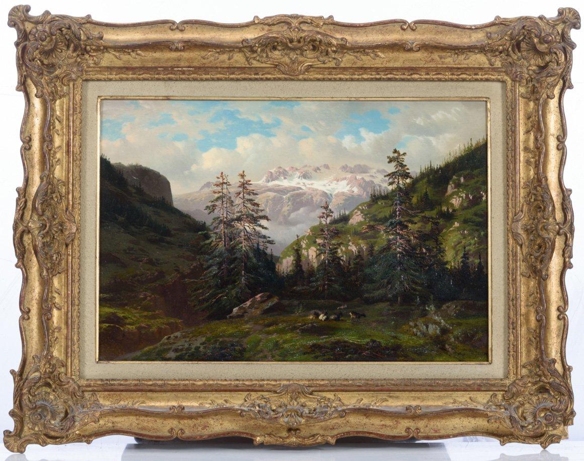 François ROFFIAEN (1820-1898), Paysage de montagne en Suisse, vue d'un glacier en Oberland