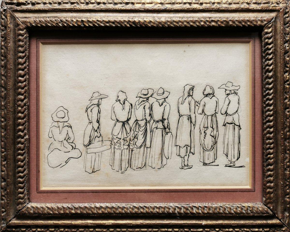 Ecole française XIXe, Etude de paysans bretons et de bretonnes, Dessin crayon et plume
