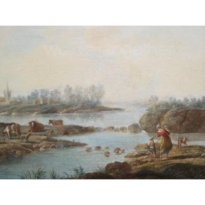 Louis-Philippe CRÉPIN (1772-1851), Pastorale en bord de rivière, Huile sur panneau, XVIIIe