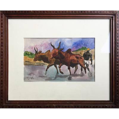 Georges Lucien GUYOT, Africa, Scène de brousse, Plume et aquarelle signée en bas à gauche