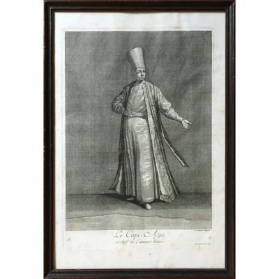 Le Capi Aga, Chef des Eunuques blancs, Gravé par G. Scotin d'après J.B Van Mour, gravure XVIIIe