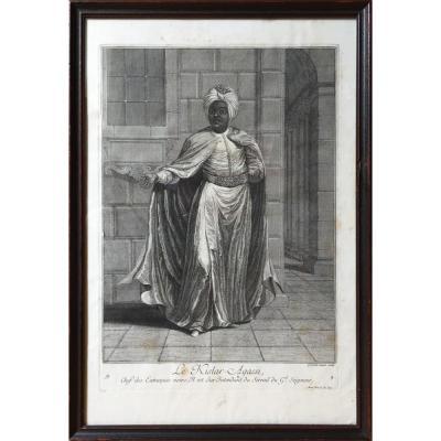 Kislar Agassi, Chef des Eunuques noirs, Gravé par G. Scotin d'après JB Van Mour, gravure XVIIIe