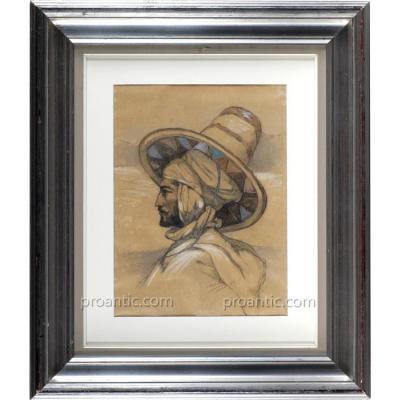 L'homme Bleu, Portrait Orientaliste signé Marguerite Tedeschi, Bou Saada 1913