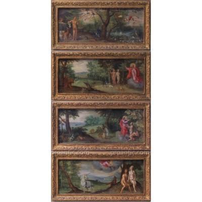 Brueghel de Velours 1568 -1625 attribué à, Le Paradis terrestre Cuivres flamands fin XVIe-XVIIe