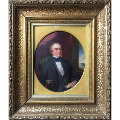 Gg Bullock, Portrait Of A Scottish Lord In Romantic Inside, Nineteenth, Signed, Frame Of Time