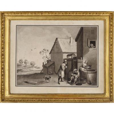 Suiveur ou atelier de David Téniers II (1610-1690) « La ferme », dessin au lavis, fin XVIIe