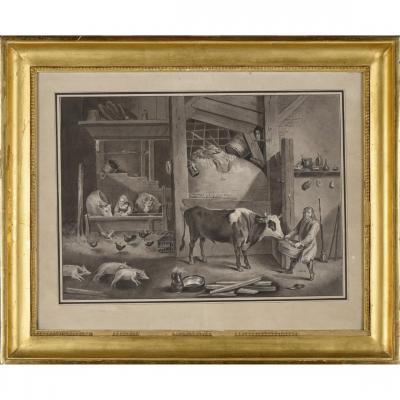Suiveur ou atelier de David Téniers II (1610-1690) « Basse-cour », dessin au lavis, fin XVIIe