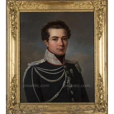 VAN GORP, Portrait d'apparat d'un officier des gardes du corps du roi, HST, signé et daté 1818