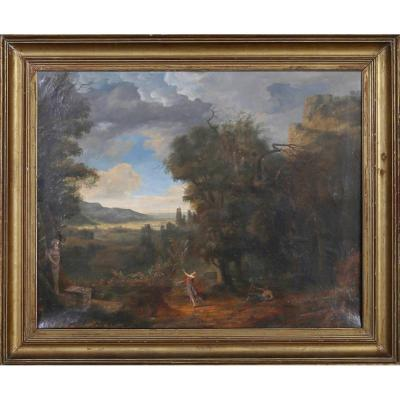 Allegorical Landscape In The Satyr, Neoclassical School Of The Eighteenth By A Follower Of Chick