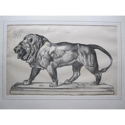 Lion qui marche, gravure de Firmin Gillot d'après ANTOINE LOUIS BARYE, XIXe