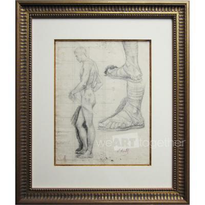 Paul Borel, Etude pour le Martyre de Saint Paul (Eglise Saint Paul à Lyon), dessin signé