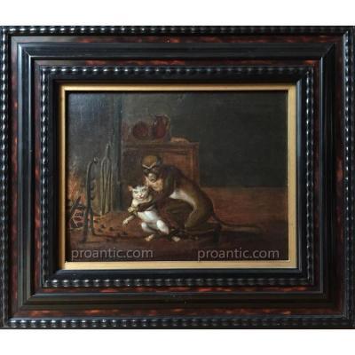 Ferdinand VAN KESSEL (1648-1696) cercle de, école flamande du XVIIe, le Singe et le chat