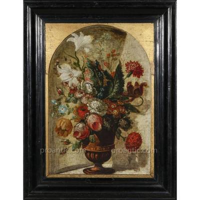Ecole flamande XVIIe, Ambrosius BOSSCHAERT (cercle de) Composition florale dans vase Médicis