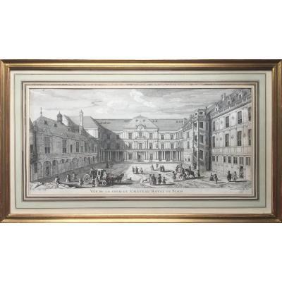 Vue de la cour royale du château de Blois,  Jacques Rigaud (1680-1754) Gravure XVIIIe