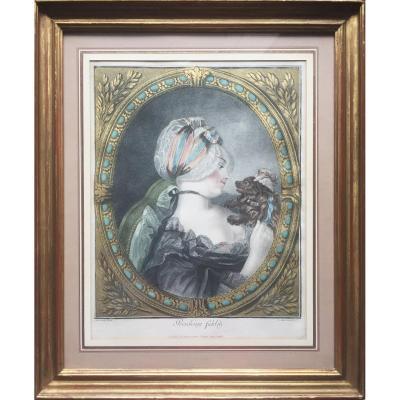 Provoking fidelity Gravure 18e en couleurs à la manière de pastel, décor à la feuille d'or