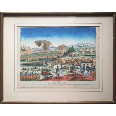 Bataille de Wagram, Napoléon, Estampe gouachée, circa 1819