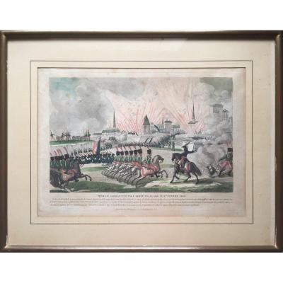 Prise de Saragosse, Napoléon, Eau forte aquarellée et gouachée, époque Ier Empire