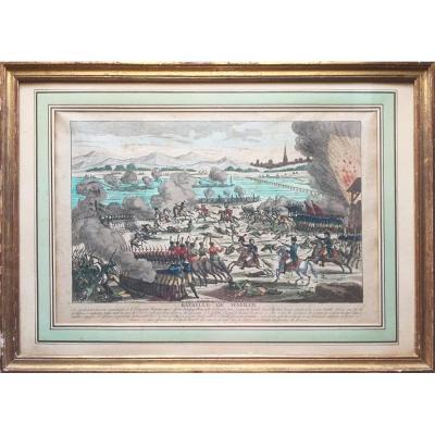 Bataille de Wagram, Napoléon, eau-forte aquarellée d'époque Ier Empire, Jean éditeur