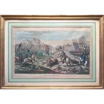 Bataille de Lutzen, Napoléon, eau-forte aquarellée d'époque Ier Empire, Jean éditeur