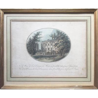 Gravure XVIIIe, A view of Lord  Barrymores House in Picadilly taken from S. James park, 1792