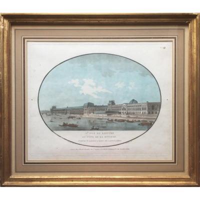 IIe vue du Louvre du côté de la rivière, Gravure à l'aquatinte XVIIIe, 1787