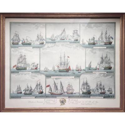 Combats navals, grande gravure ancienne aquarellée, marine militaire historique, fin 18e