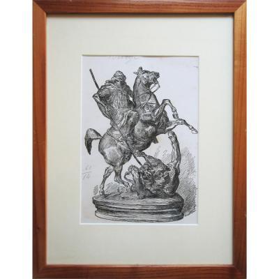 Cavalier arabe tuant un lion, F. GILLOT d'après Antoine Louis BARYE, Zincographie signée