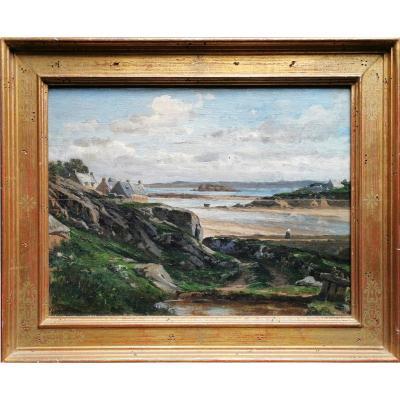 Ecole de Camille Corot, XIXe, Bord de mer breton, Ile de Batz ? Huile sur panneau