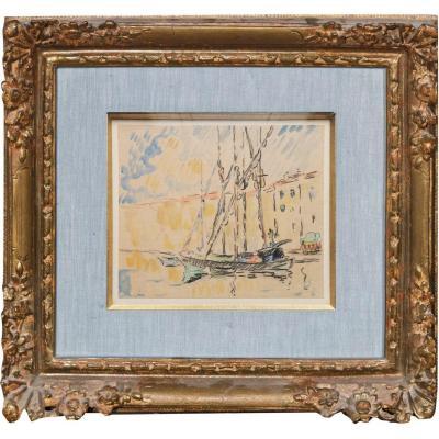 Paul SIGNAC (1863-1935) attribué à, Dessin à l'aquarelle, Voilier dans un port (Nice?)