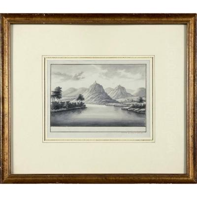 Antoine Leloup, Veduta XVIIIth From Siebengebirge Along The Rhine, Pen And Indian Ink, Signed