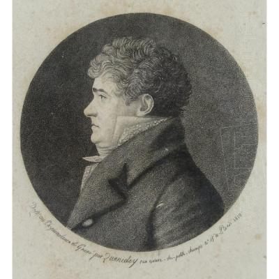 Portrait d'homme 1er Empire, physionotrace par Quenedey 1810