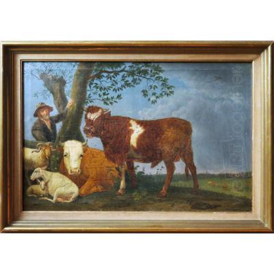 Pâtre et son troupeau, Ecole hollandaise du XIXe, suiveur de Paulus Potter