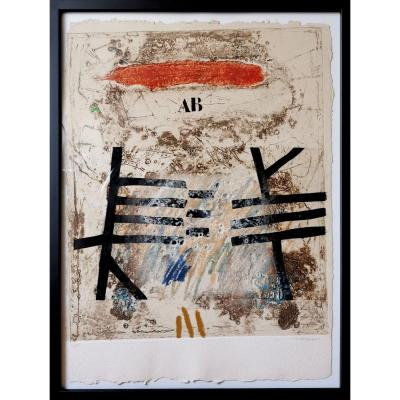 James Coignard, Composition Ab, Original Etching Signed, Numbered & Enhanced By The Artist